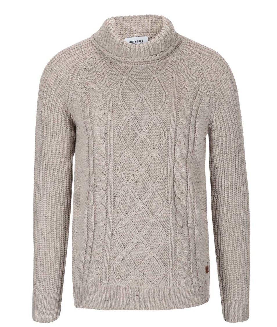 Béžový svetr s vysokým límcem ONLY & SONS Gabriel