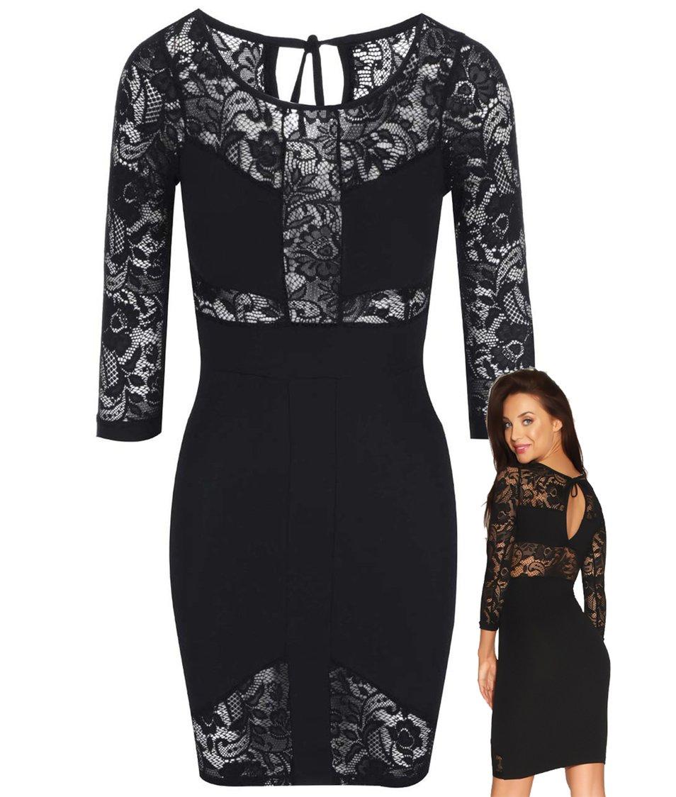 Luxusní černé šaty s krajkou Quontum