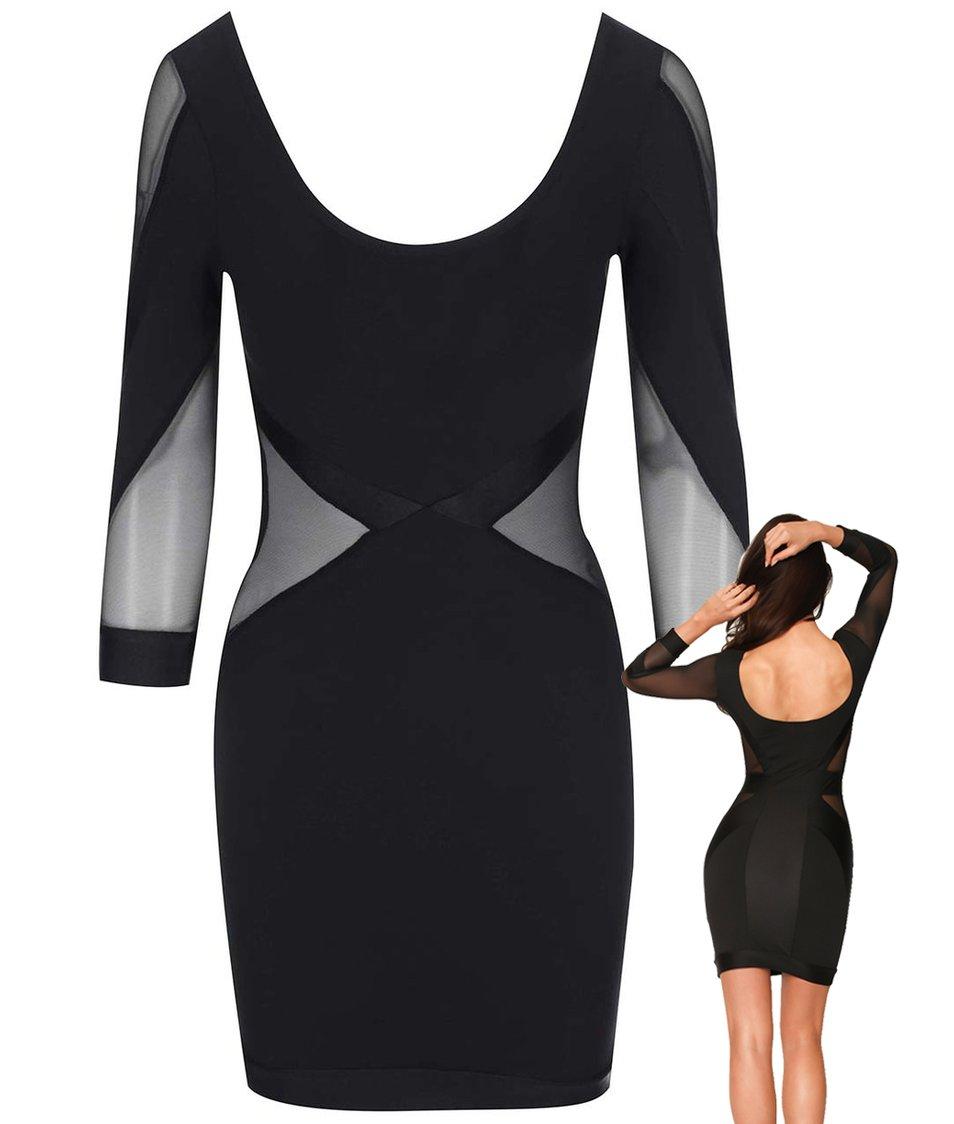 Černé šaty s transparentními detaily Quontum