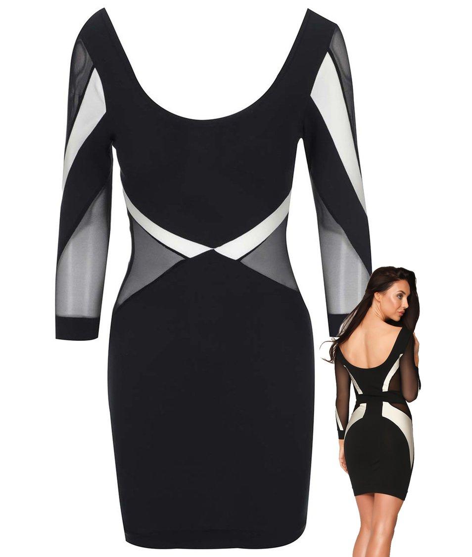 Bílo-černé šaty s transparentními detaily Quontum