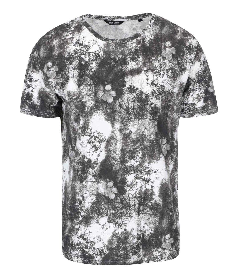 Šedo-bílé triko s potiskem ONLY & SONS Jerrod