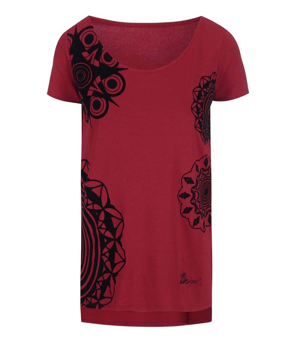 Červené tričko se vzory Desigual Adelma Rep