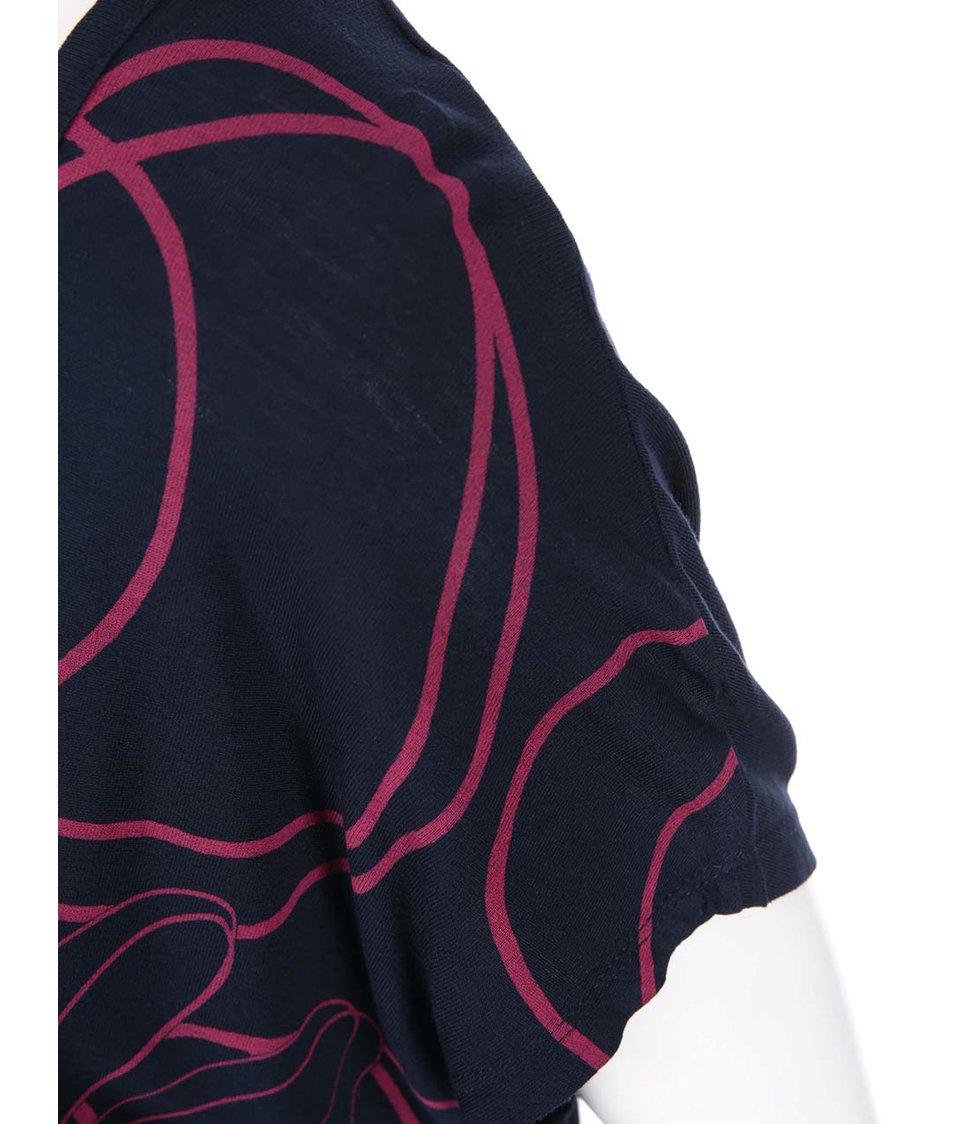 Tmavě modré tričko s růžovou květinou Desigual Ambug