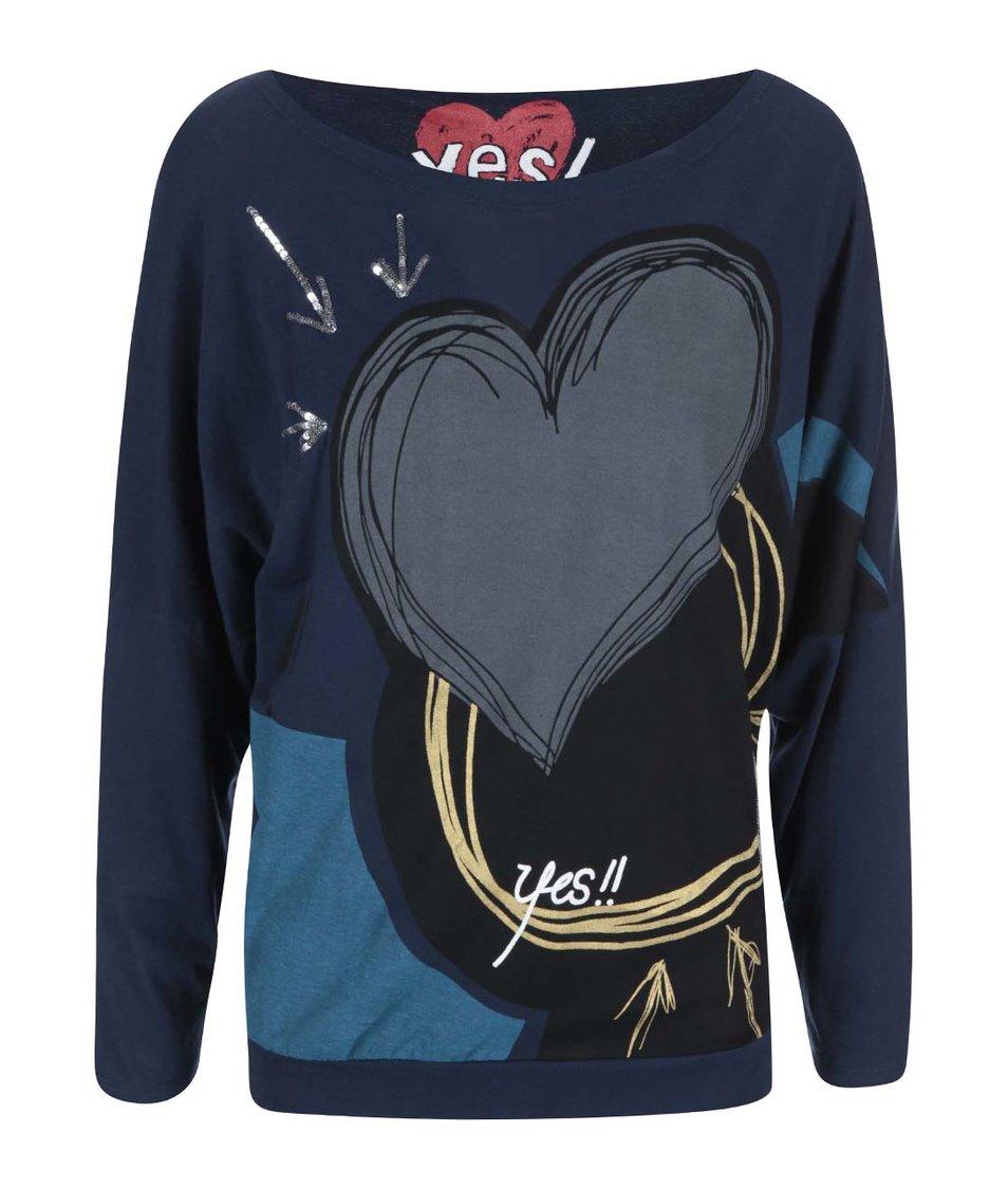 Černo-modré tričko s potiskem srdce Desigual Leo