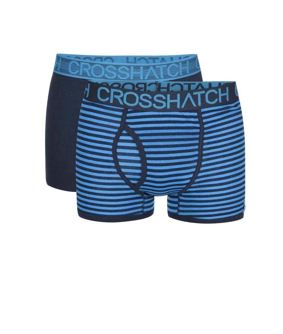 Sada dvou modrých boxerek s pruhy Crosshatch Glowsync