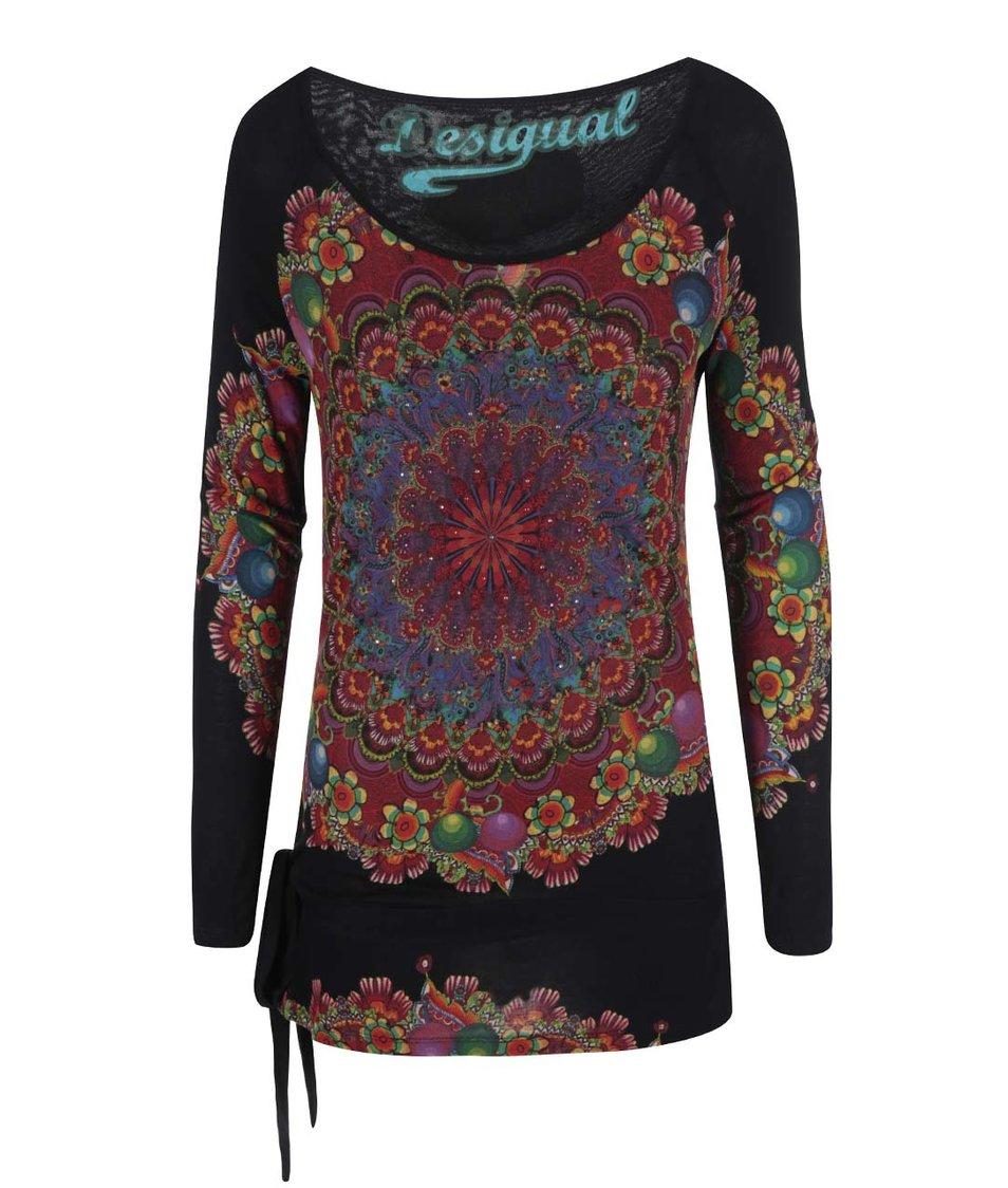 Černé tričko s barevným potiskem Desigual Kaley