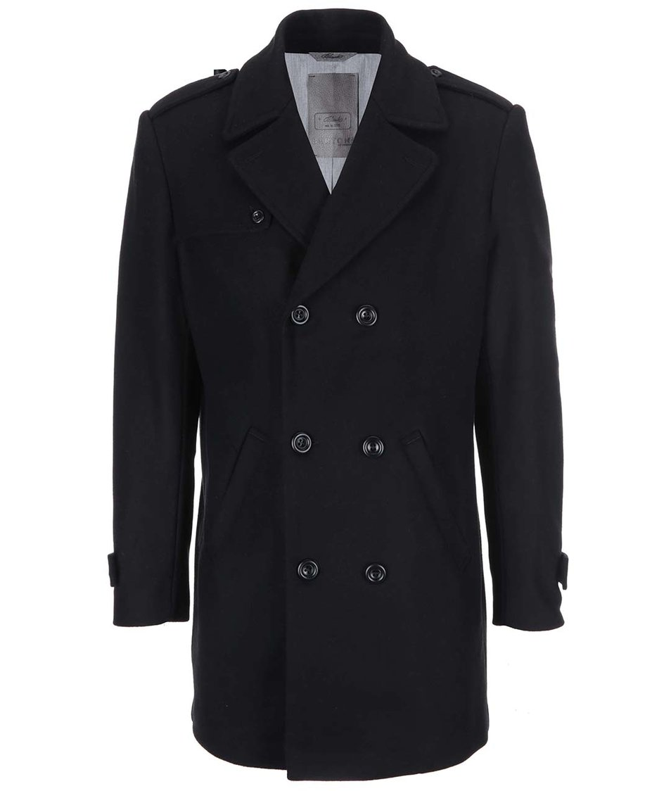 Černý vlněný dvouřadý kabát Bertoni Kongsberg
