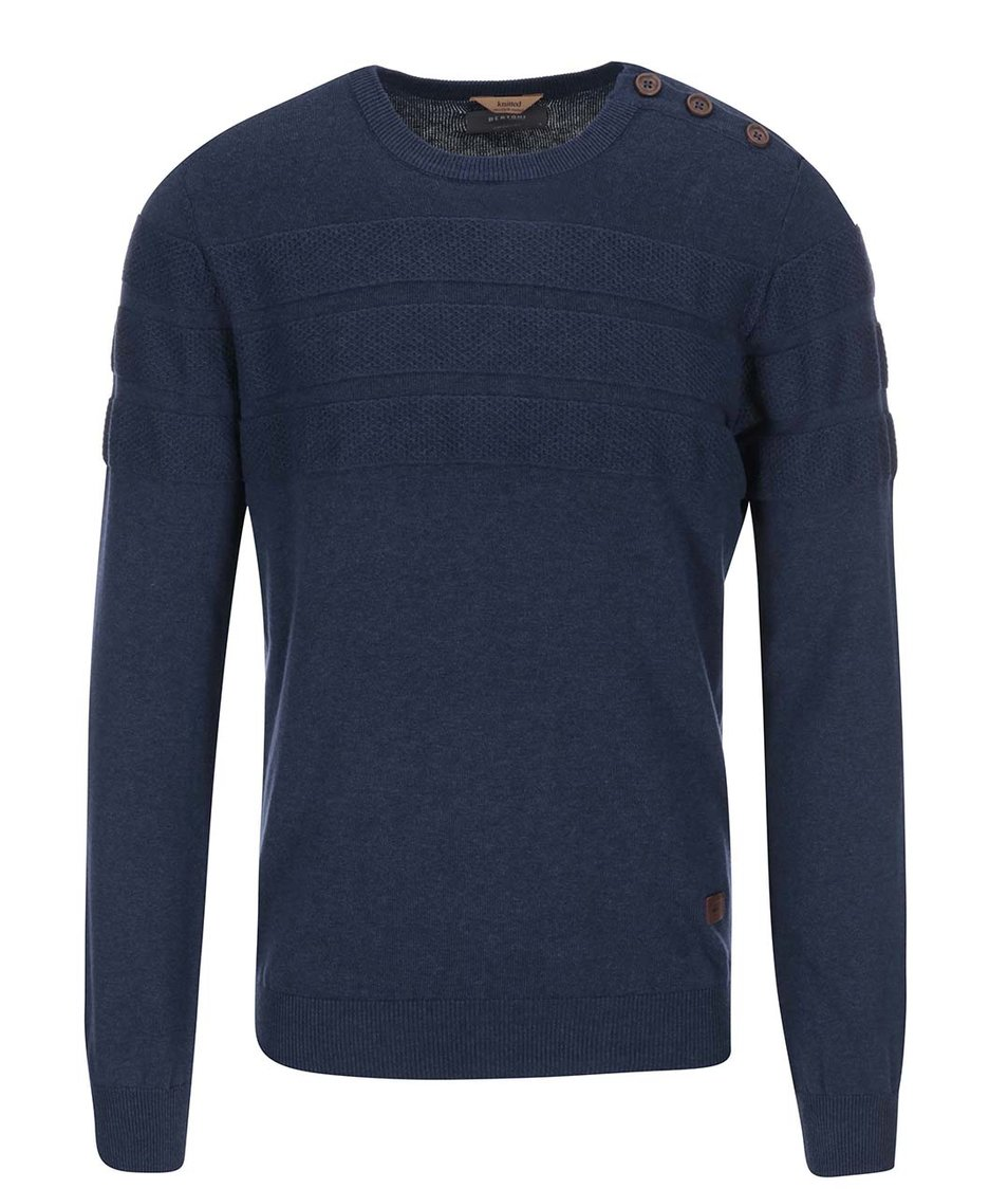 Modrý svetr s kulatým výstřihem Bertoni Laust