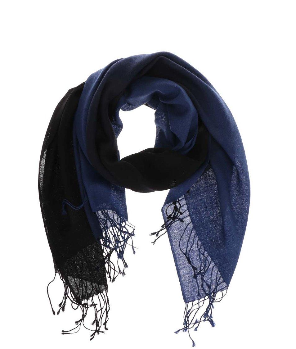 Černo-modrá dámská vlněná šála Fraas