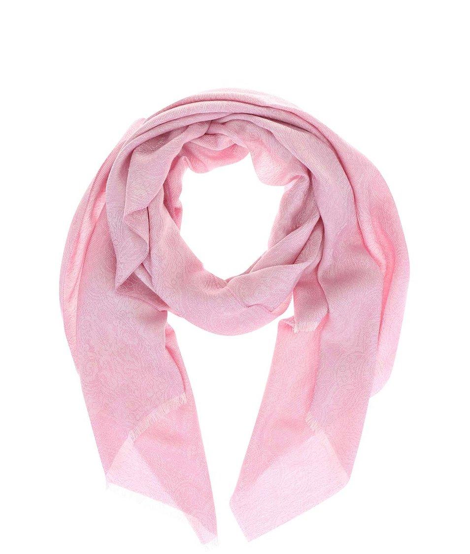 Růžová dámská vzorovaná šála z hedvábí a velbloudí vlny Fraas