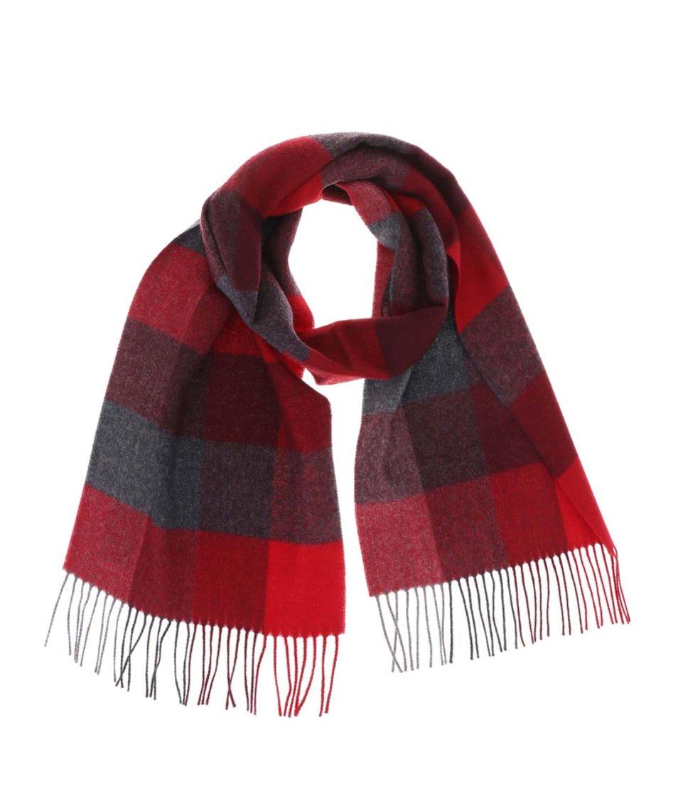 Šedo-červená dámská vlněná šála Fraas