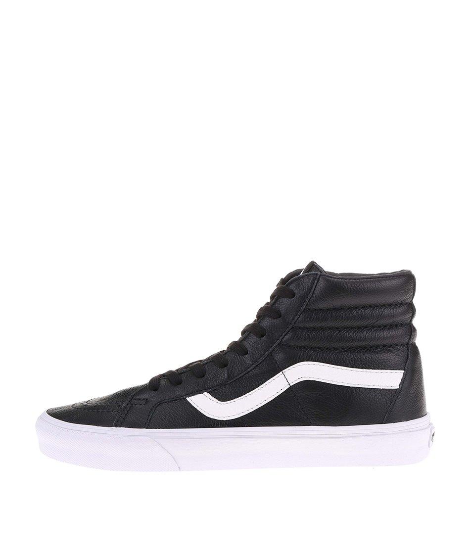 Bílo-černé pánské kožené kotníkové tenisky Vans SK8-HI