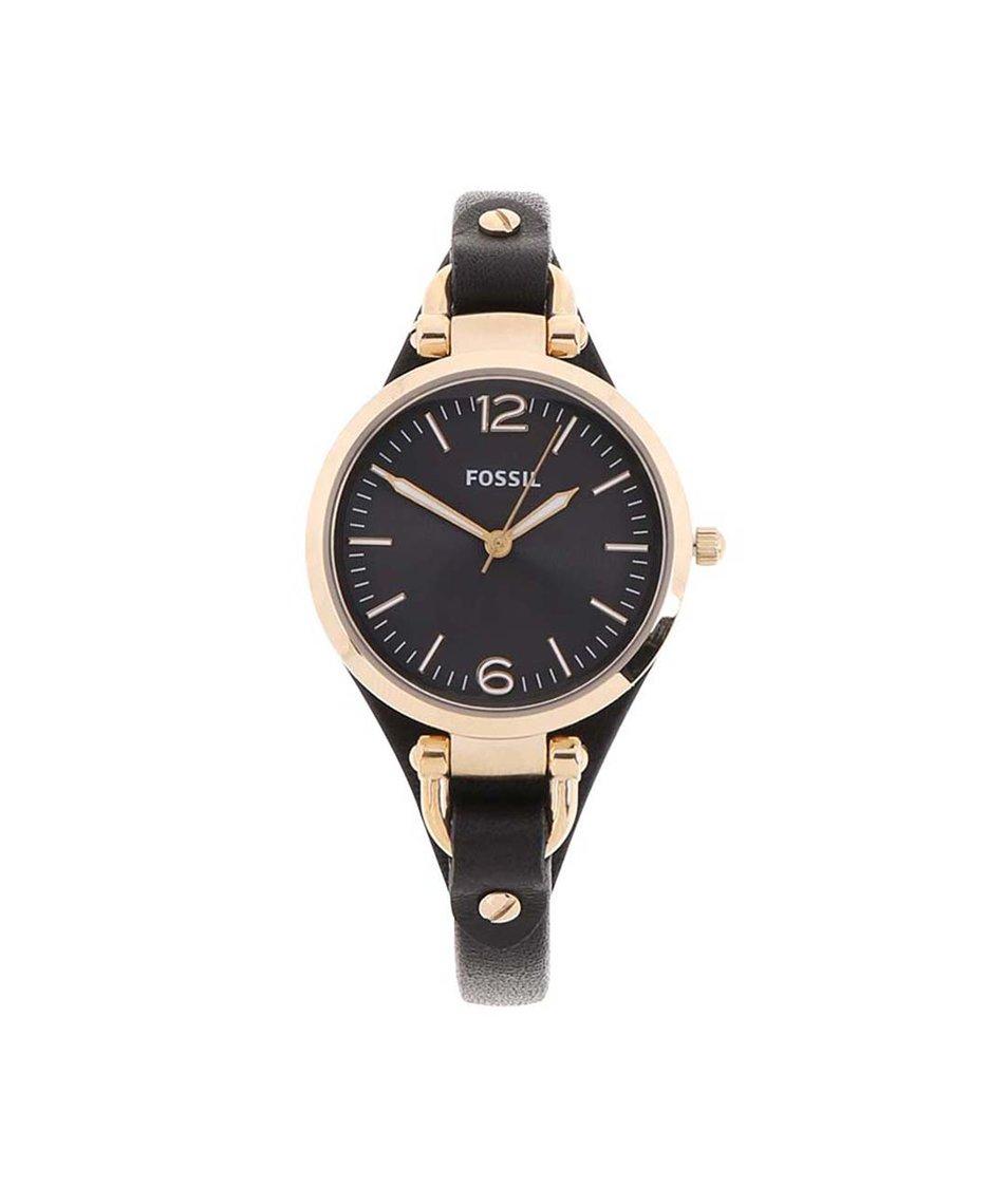 Černé dámské hodinky s koženým páskem Fossil Georgia