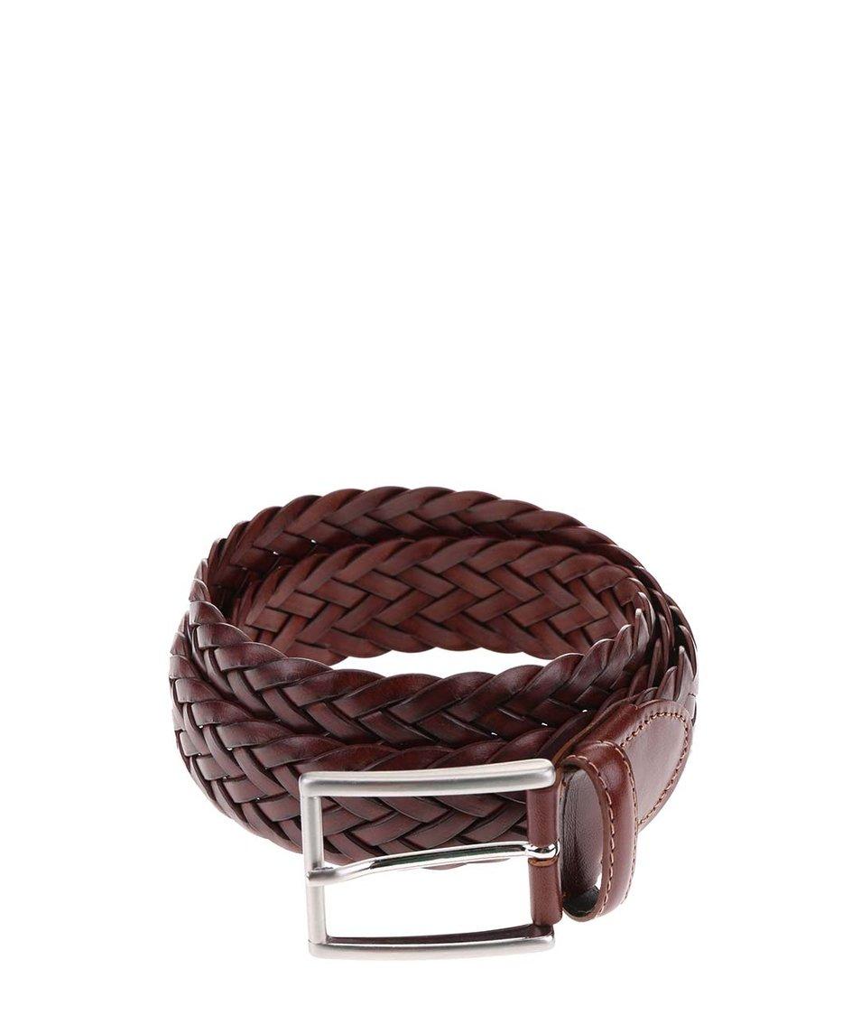 Hnědý kožený pletený pásek Portia
