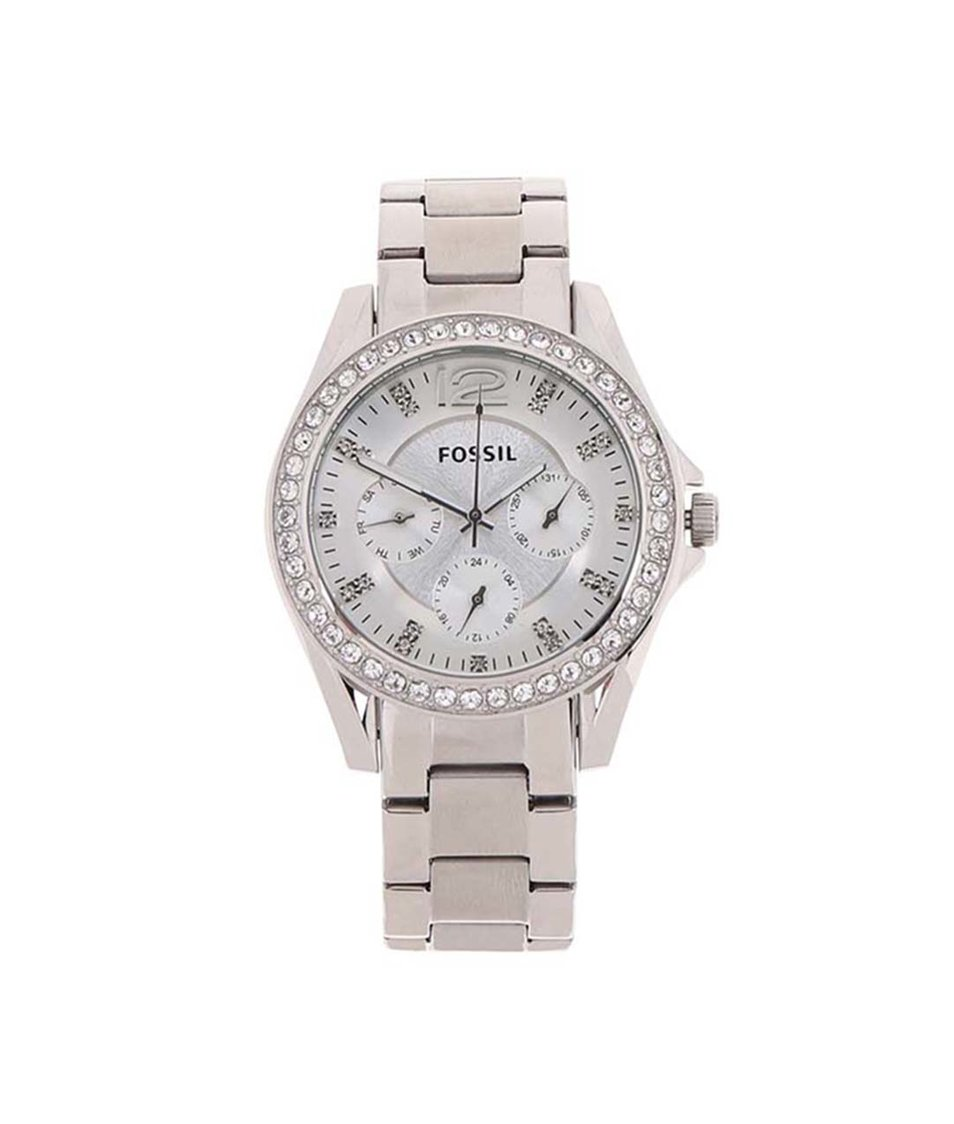 Dámské hodinky ve stříbrné barvě Fossil Riley