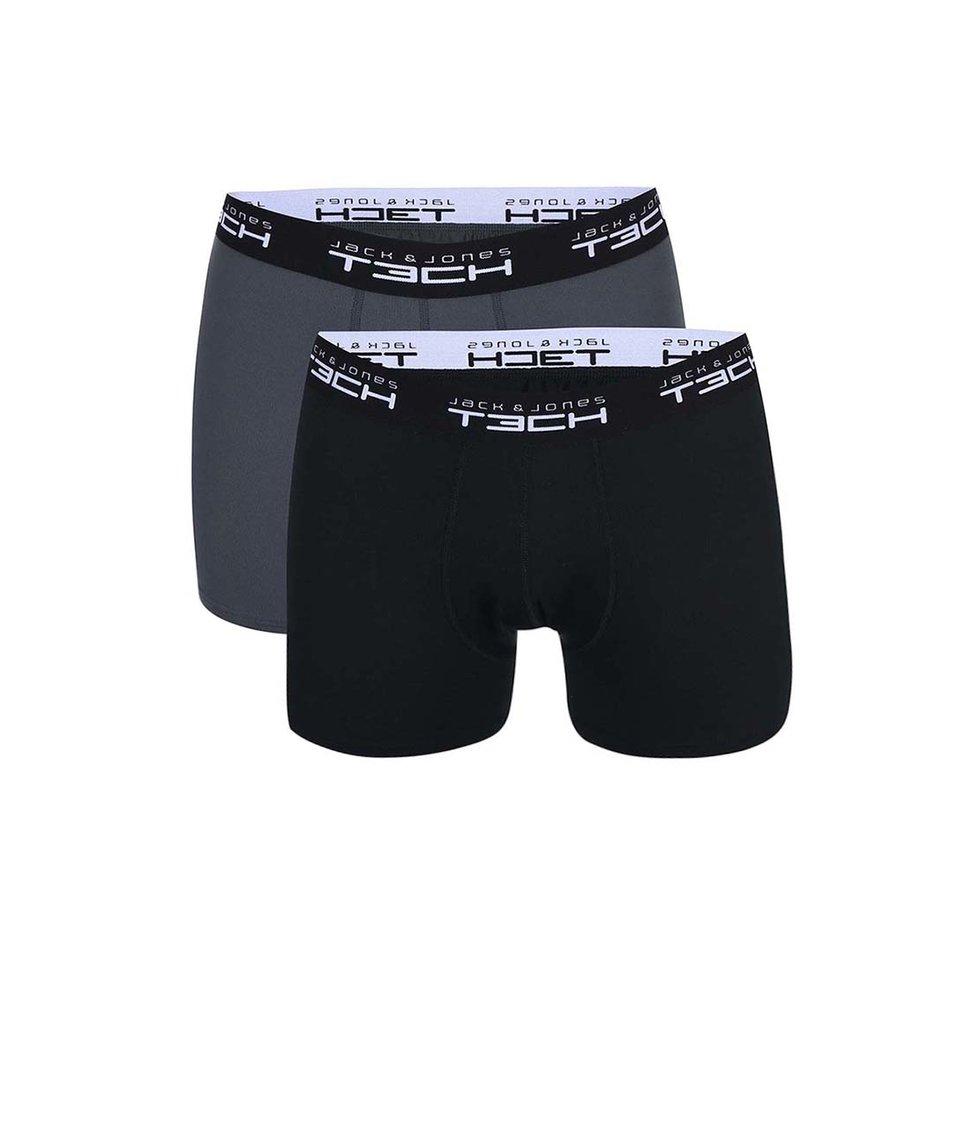 Sada dvou boxerek v černé a tmavě šedé barvě Jack & Jones Color