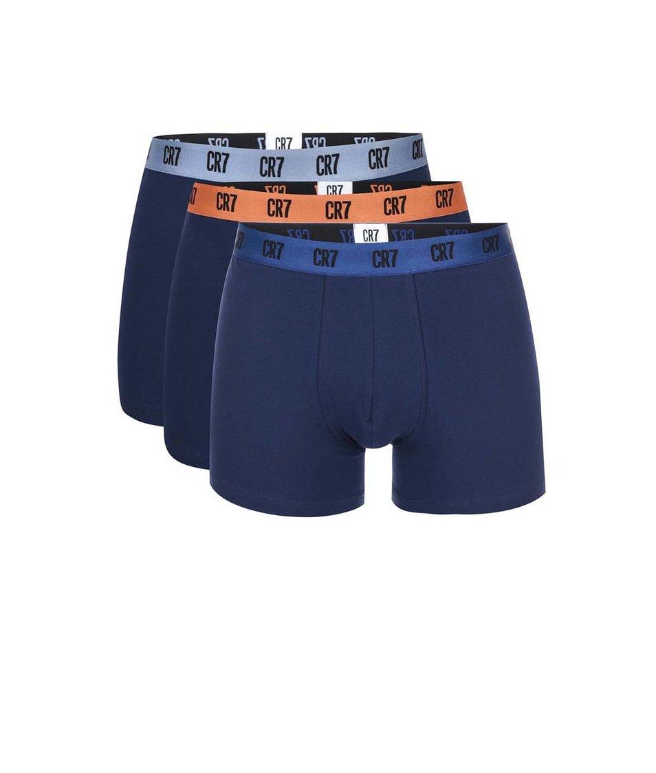 Sada tří tmavě modrých boxerek s barevnou gumou CR7