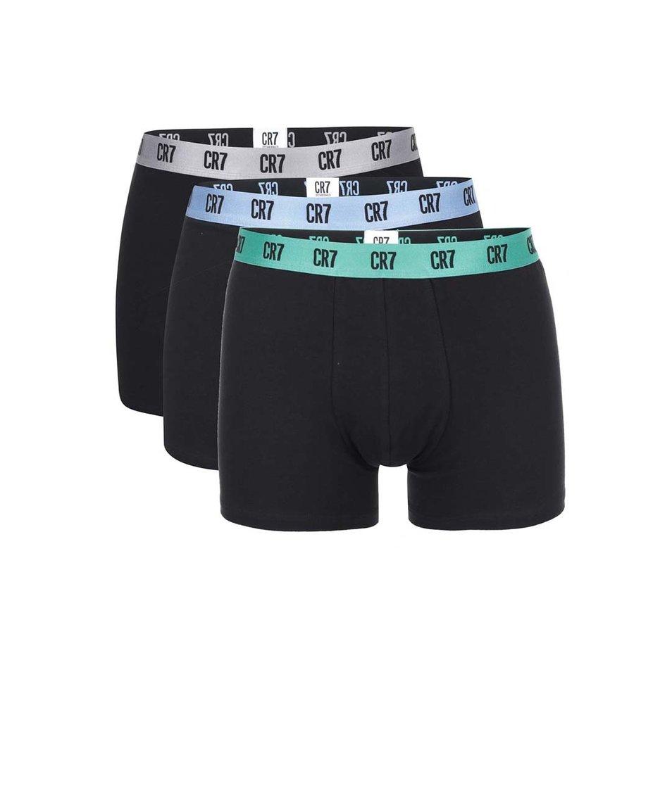 Sada tří černých boxerek s barevnou gumou CR7
