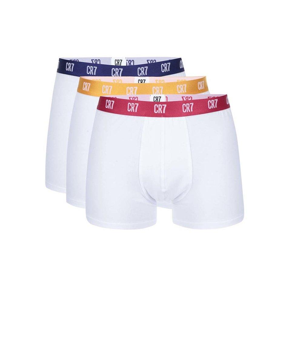 Sada tří bílých boxerek s barevnou gumou CR7