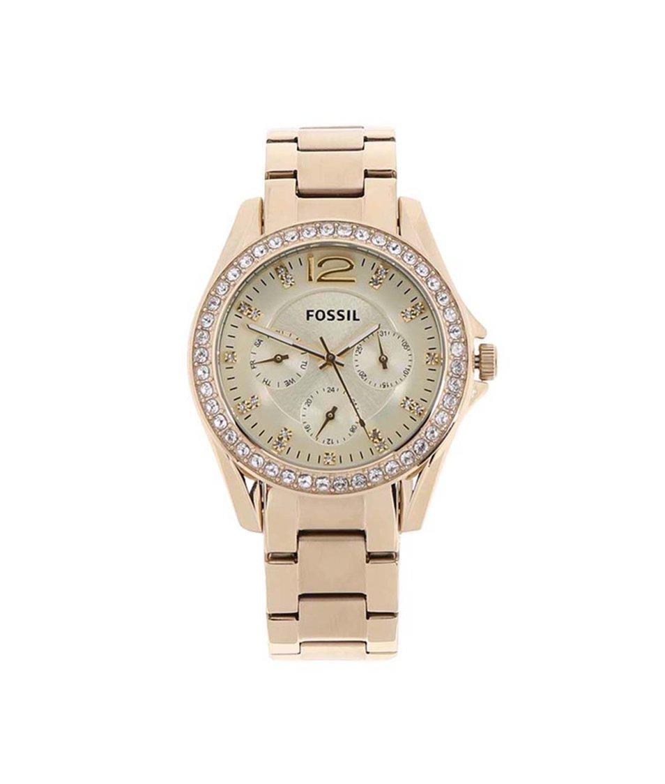 Dámské hodinky ve zlaté barvě Fossil Riley