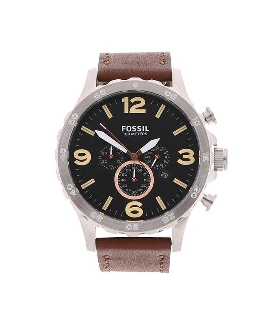 Černo-hnědé pánské hodinky Fossil Nate