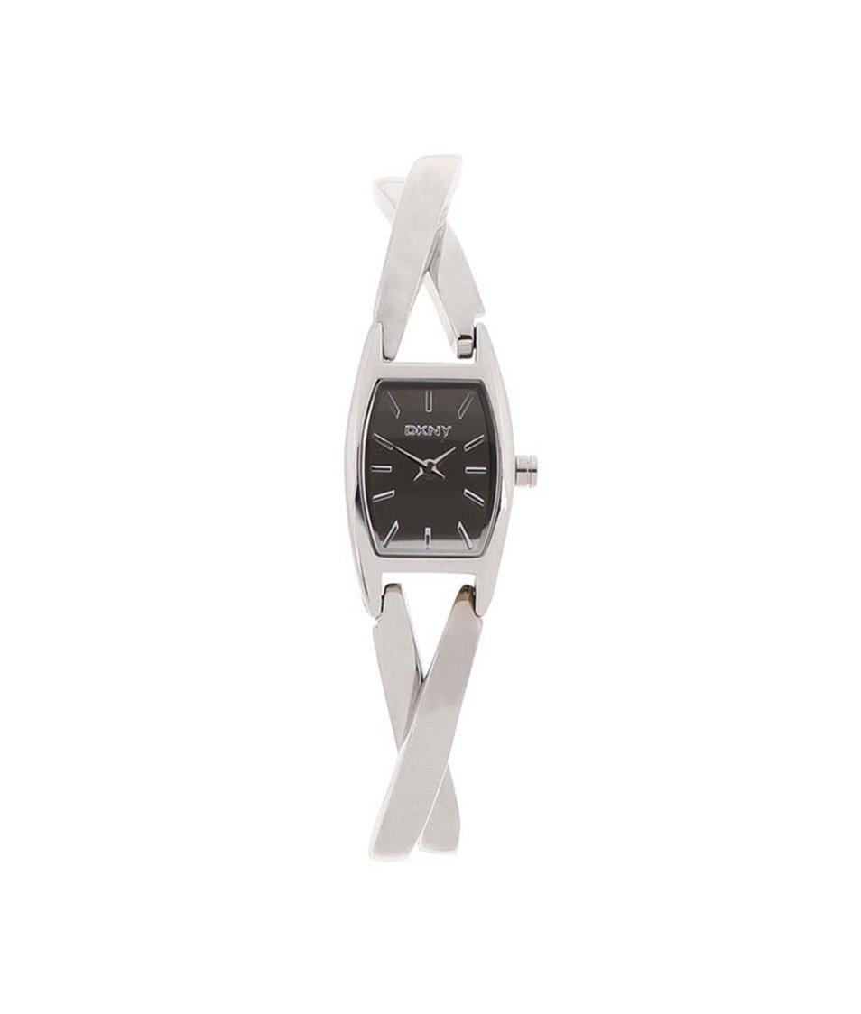 Dámské hodinky s hranatým ciferníkem ve stříbrné barvě DKNY