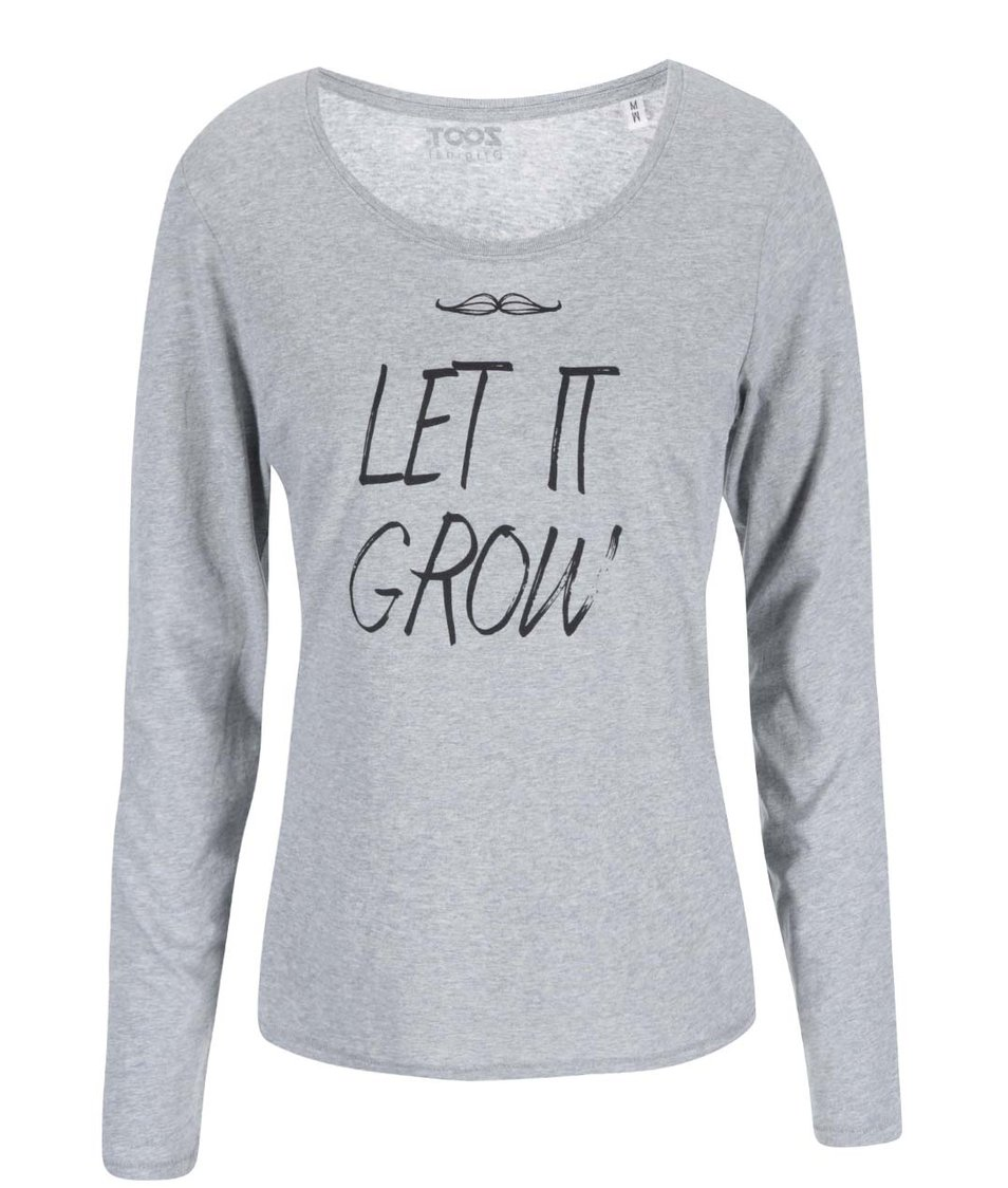 Šedé dámské tričko s dlouhým rukávem ZOOT Originál Let It Grow
