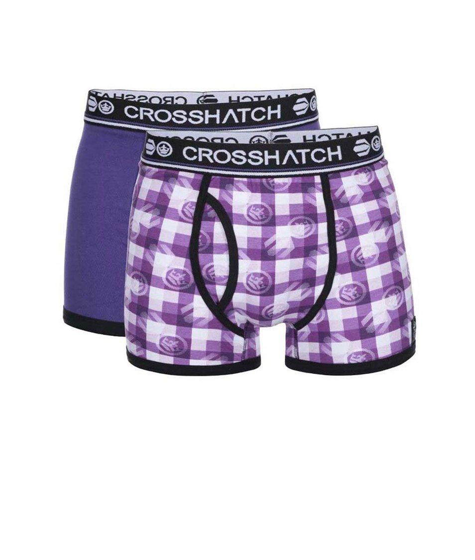 Sada dvou fialových boxerek s potiskem Crosshatch Pixflix