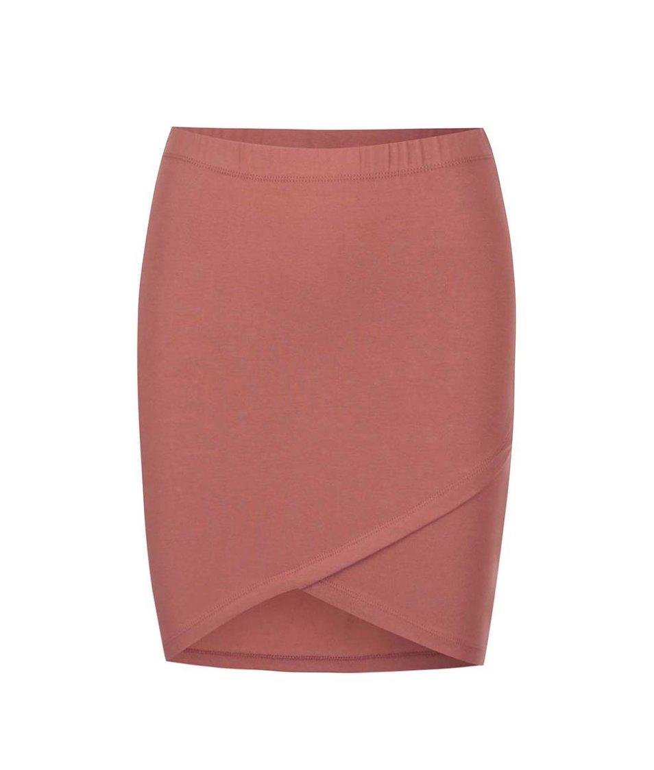 Hnědočervená pouzdrová sukně ONLY Iso