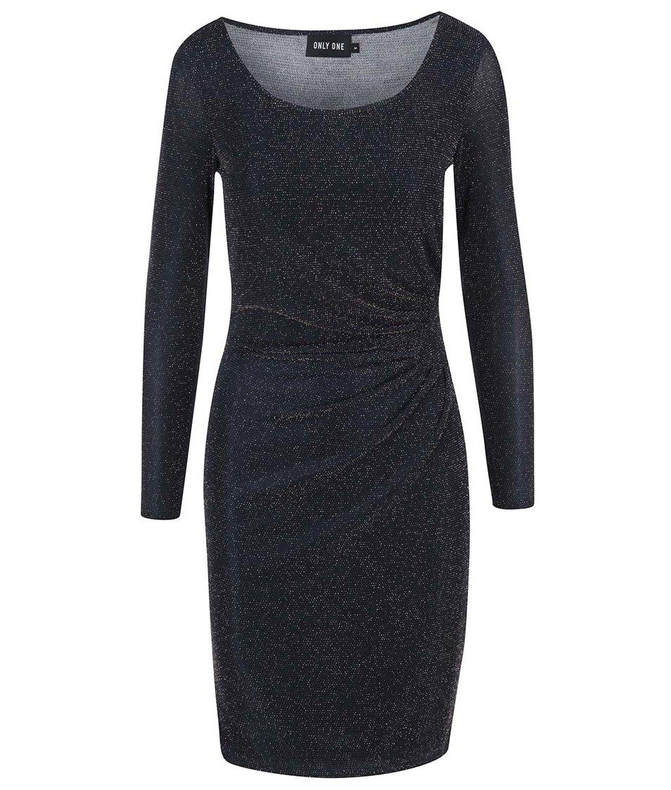 Tmavě modré šaty s jemným řasením ONLY Glitta