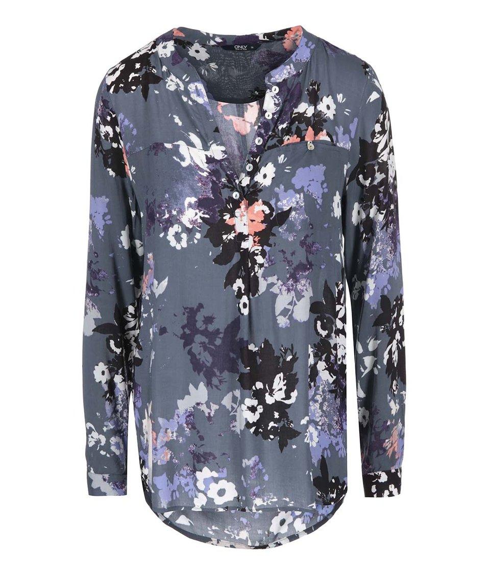 Tmavě šedá květovaná košile ONLY Fallow