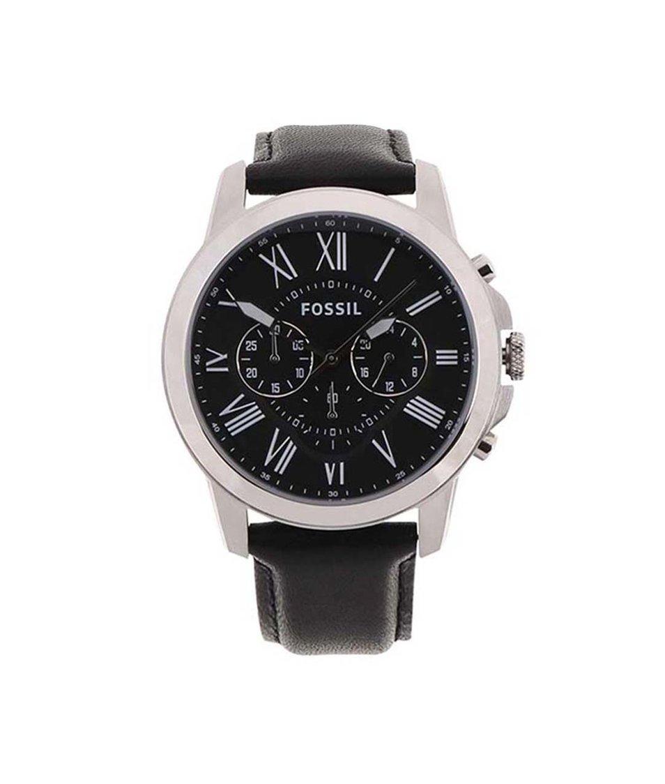 Černé pánské hodinky Fossil Grant