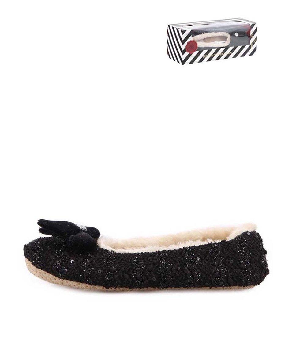 Černé třpytivé bačkůrky s mašlí Something Special by Moon