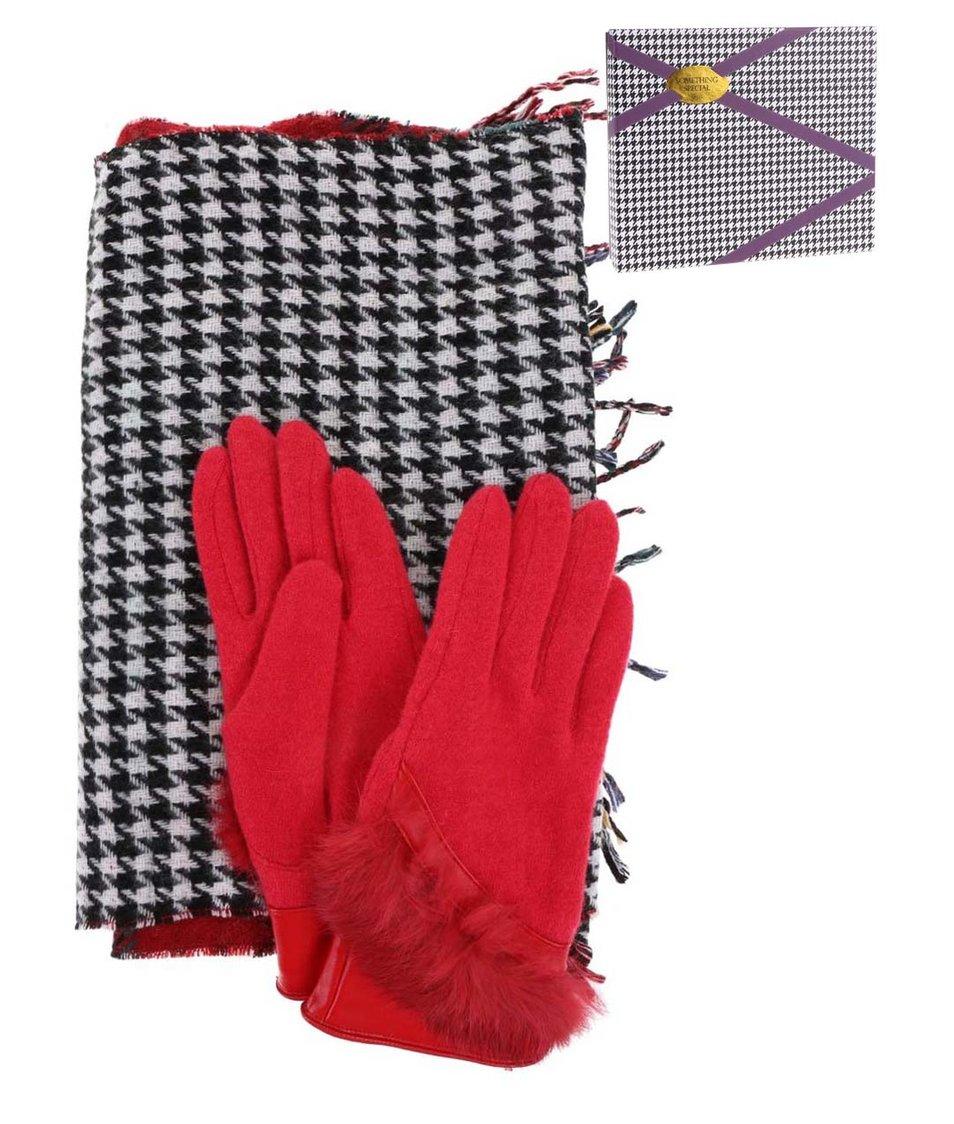 Set s oboustrannou šálou a červenými rukavicemi Something Special by Moon