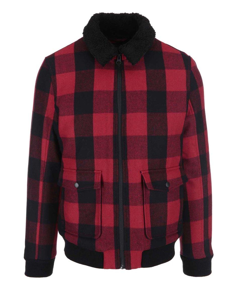 Červeno-černá kostkovaná bunda Selected Teddy