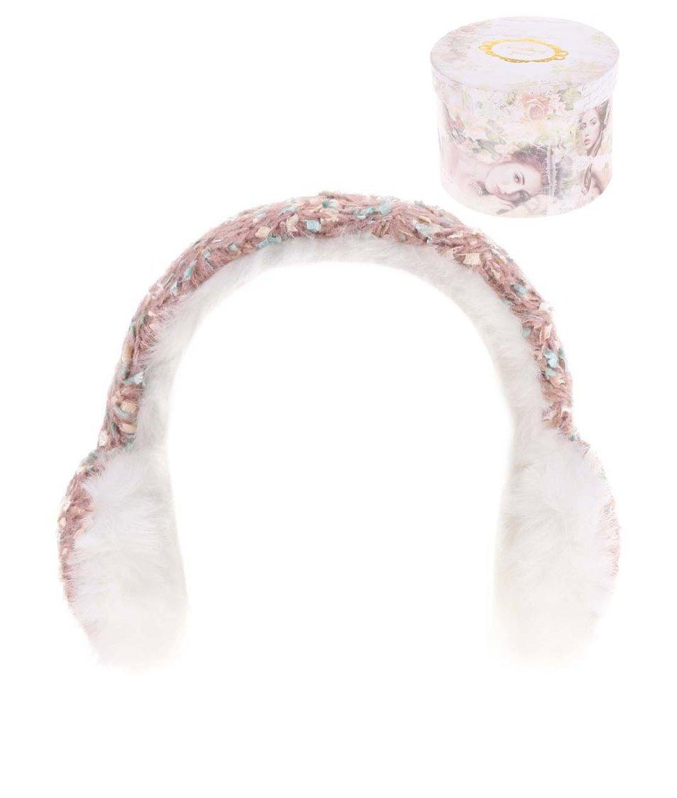 Růžové pletené klapky na uši Something Special by Moon Vintage