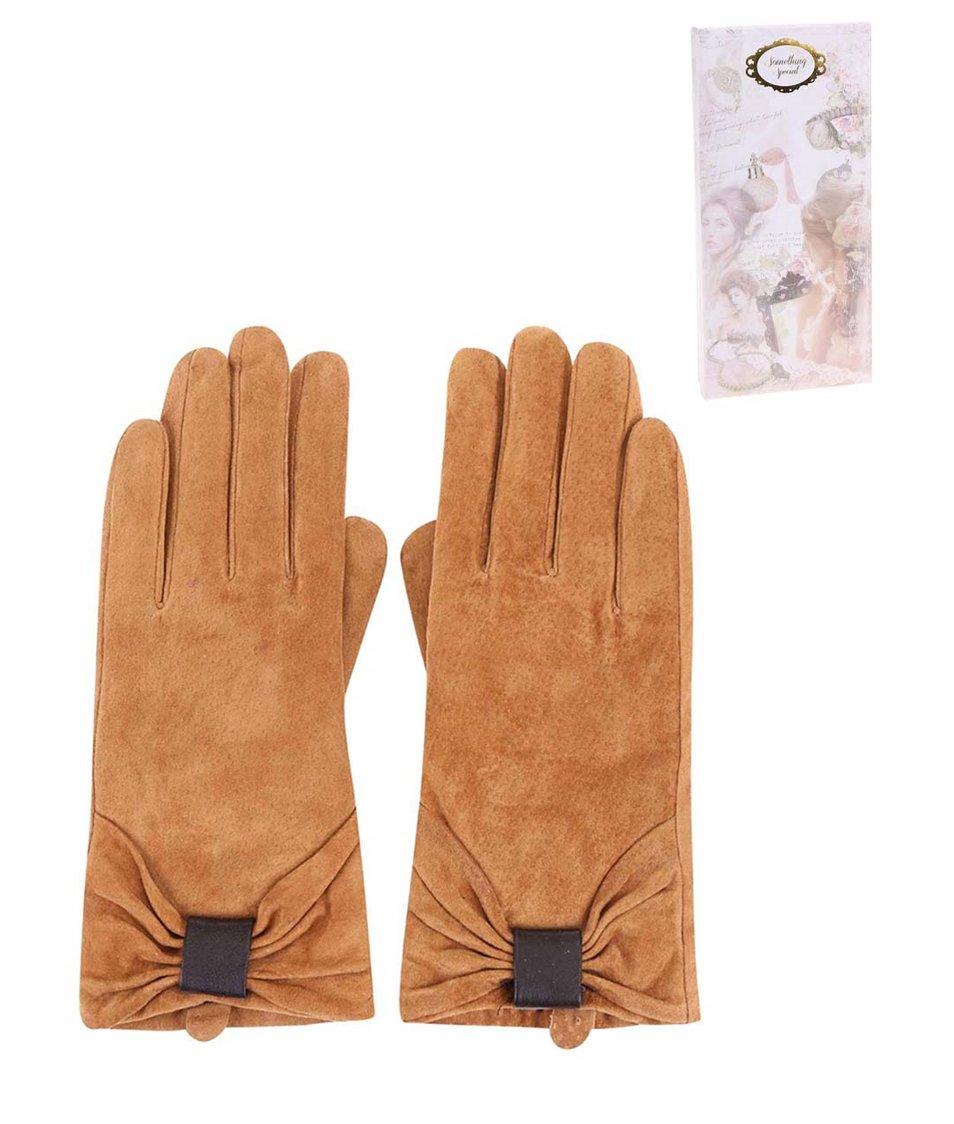 Světle hnědé kožené rukavice Something special by Moon