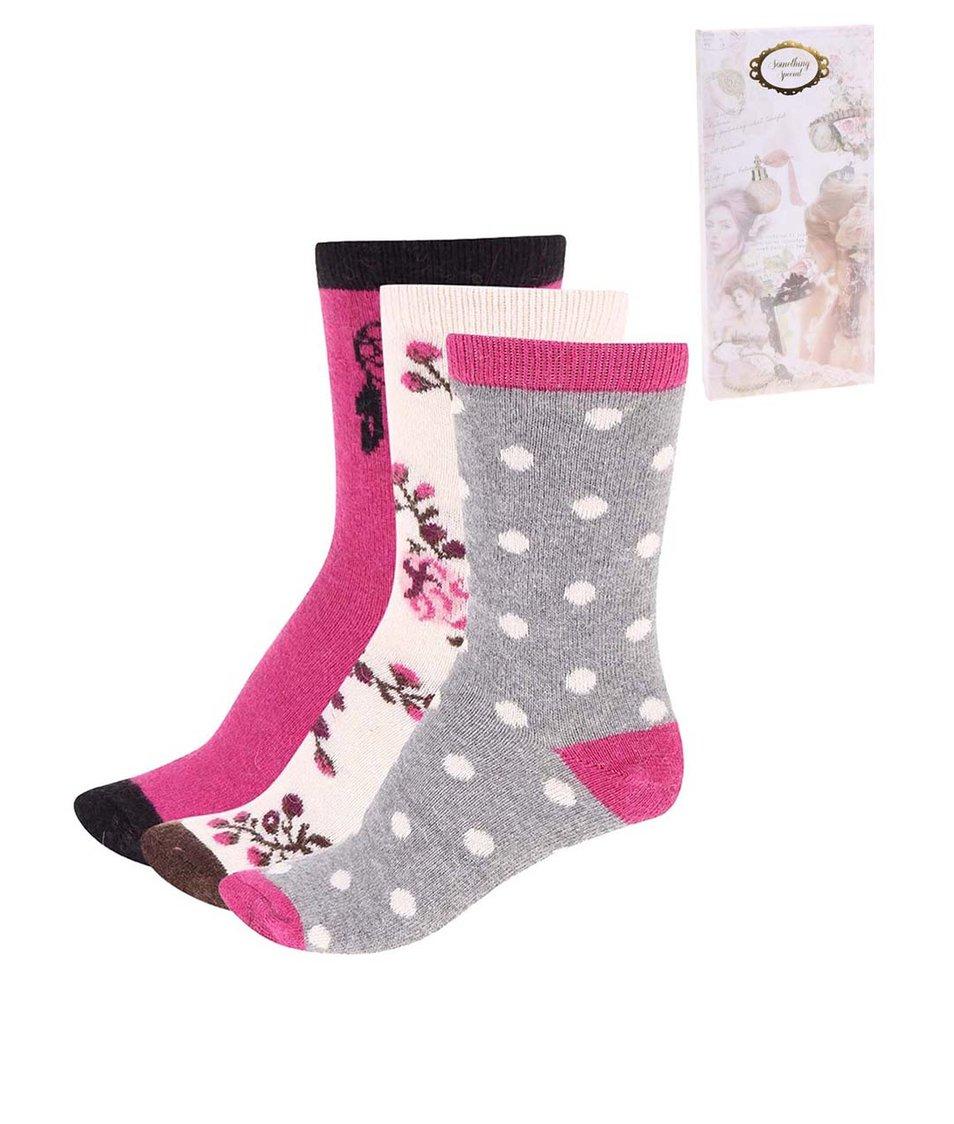 Sada tří párů vlněných ponožek Something Special by Moon