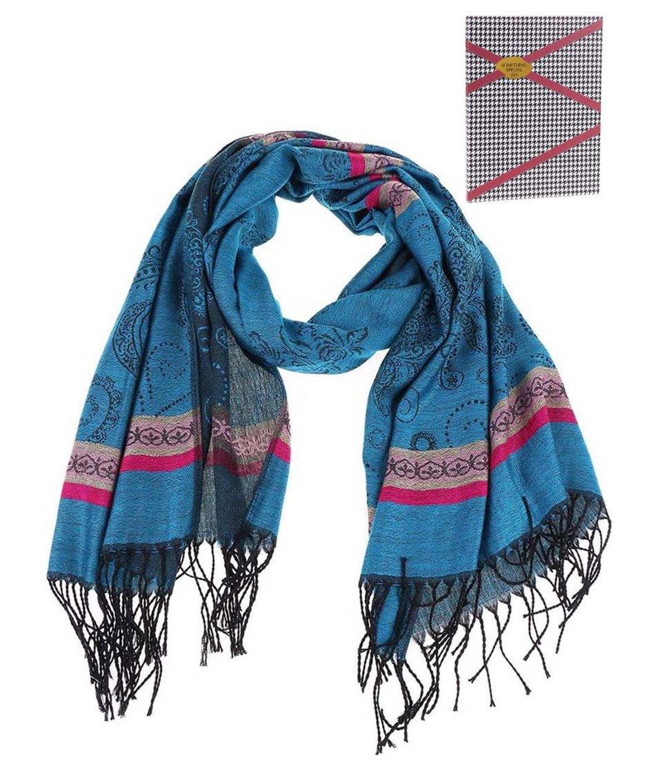 Modrozelený velký šátek se vzory Something Special by Moon