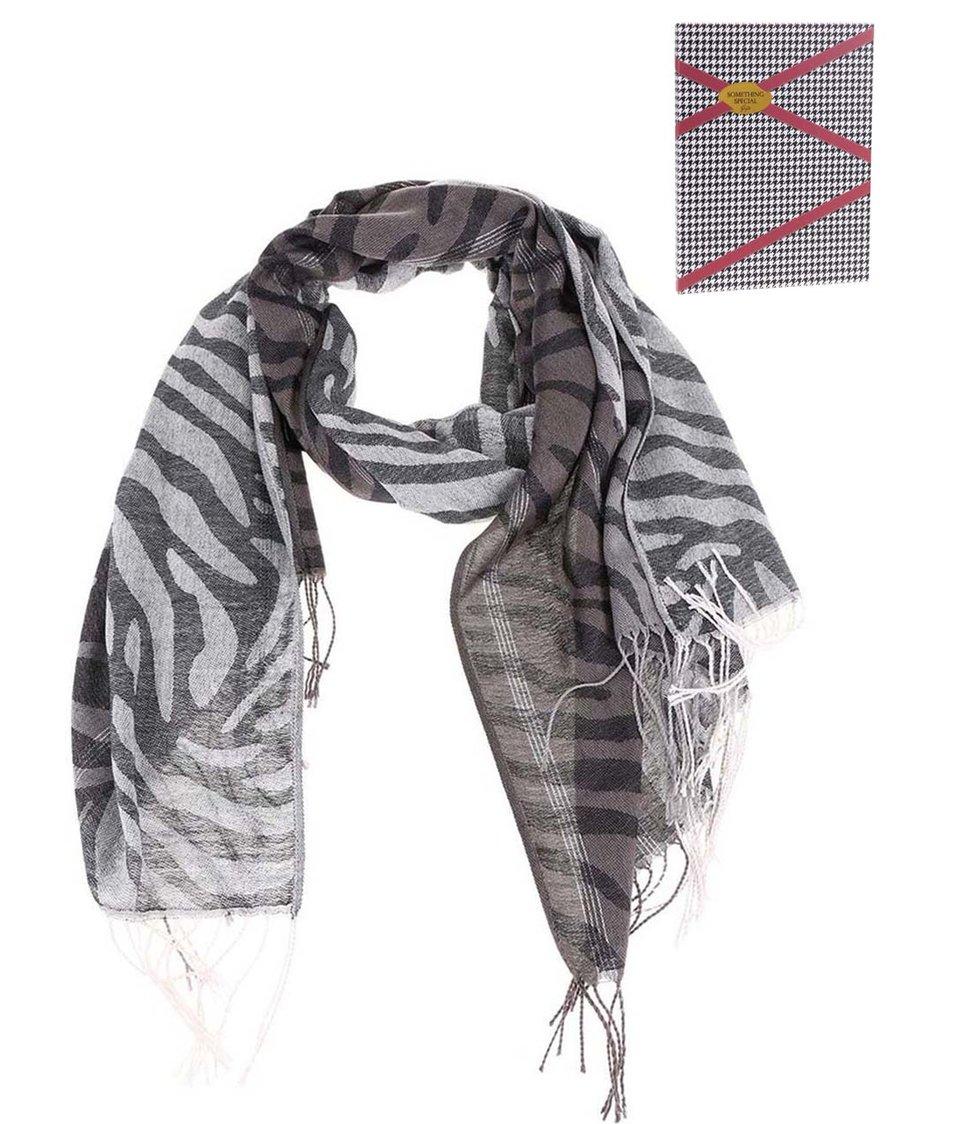 Šedočerný velký šátek se stříbrnými detaily Something Special by Moon