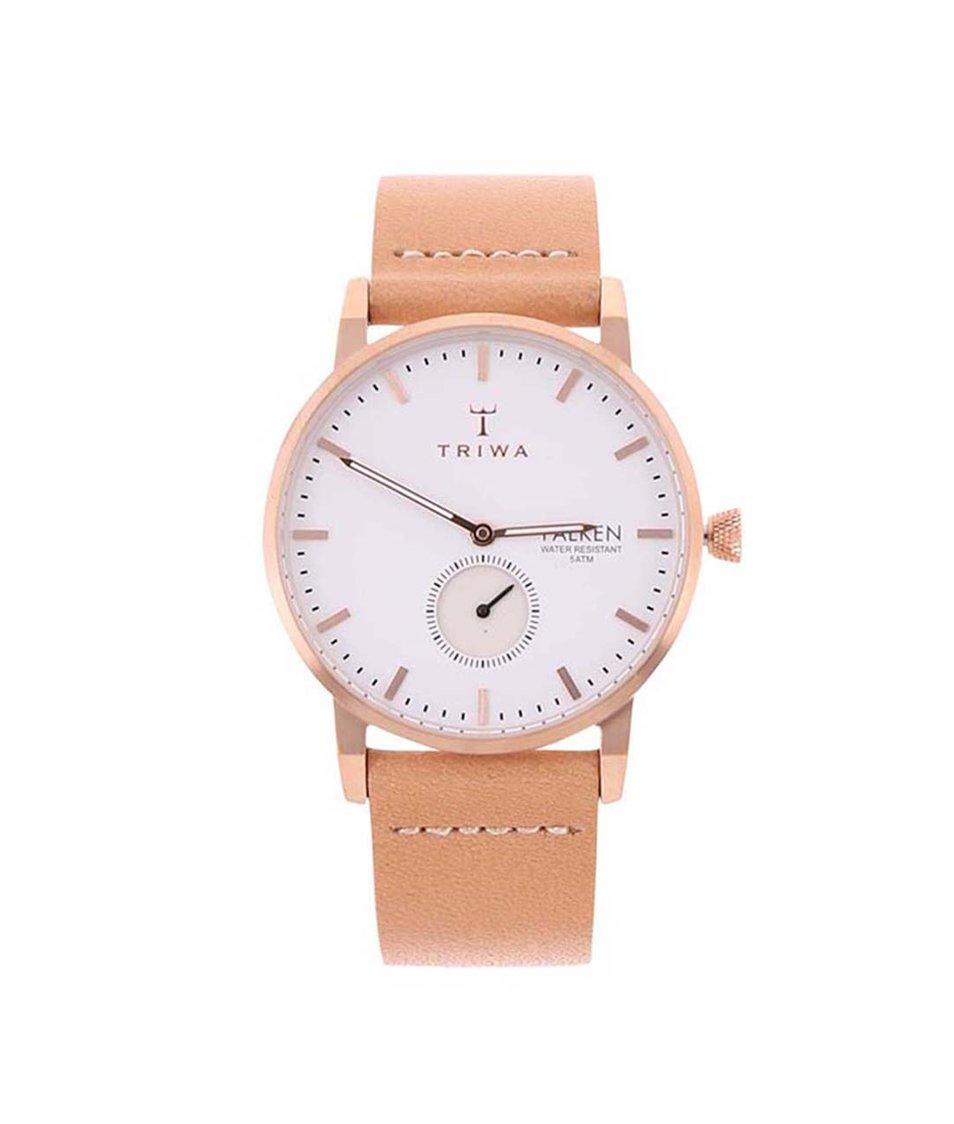 Béžové unisex kožené hodinky TRIWA Falken