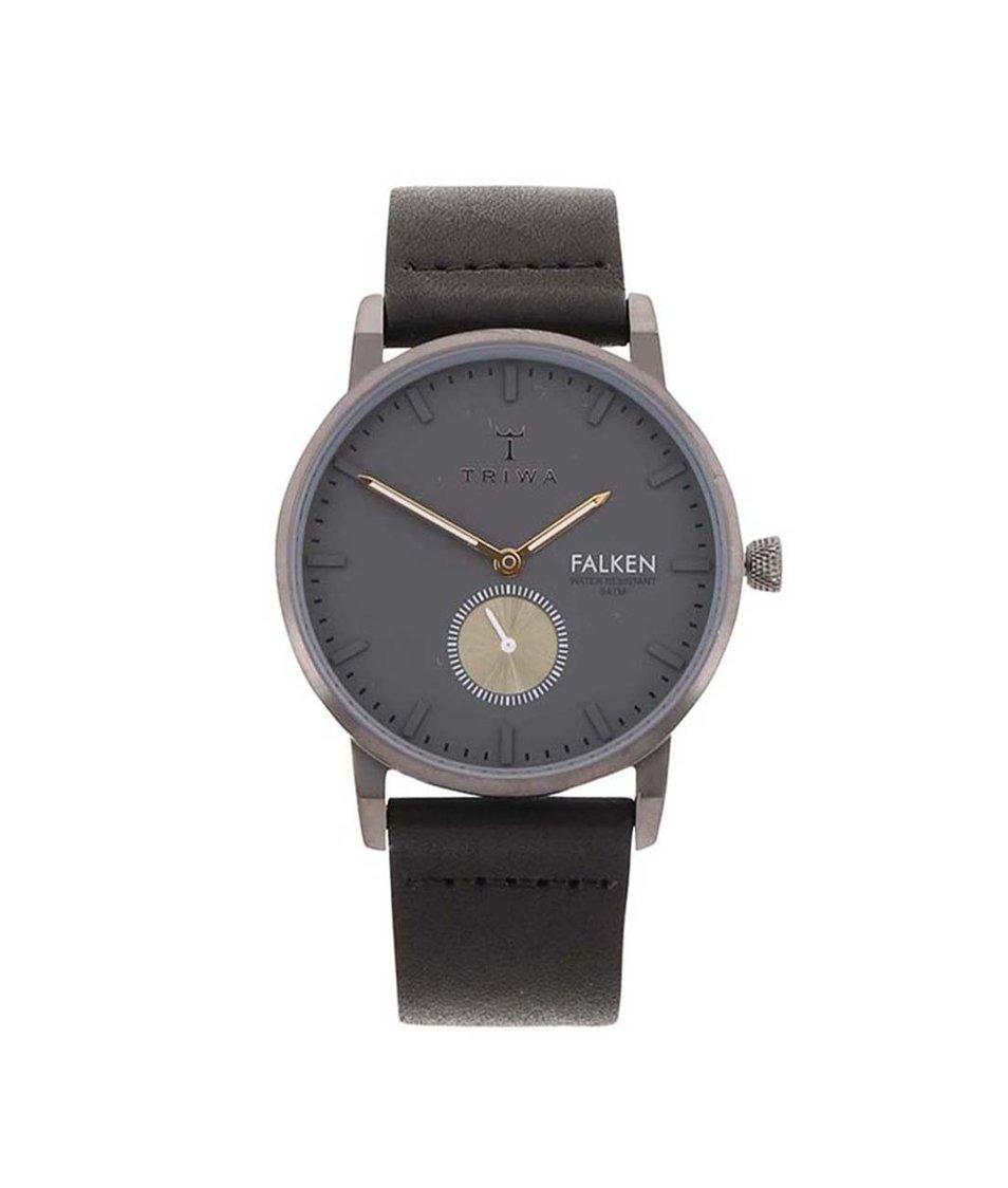 Černé unisex kožené hodinky TRIWA Falken
