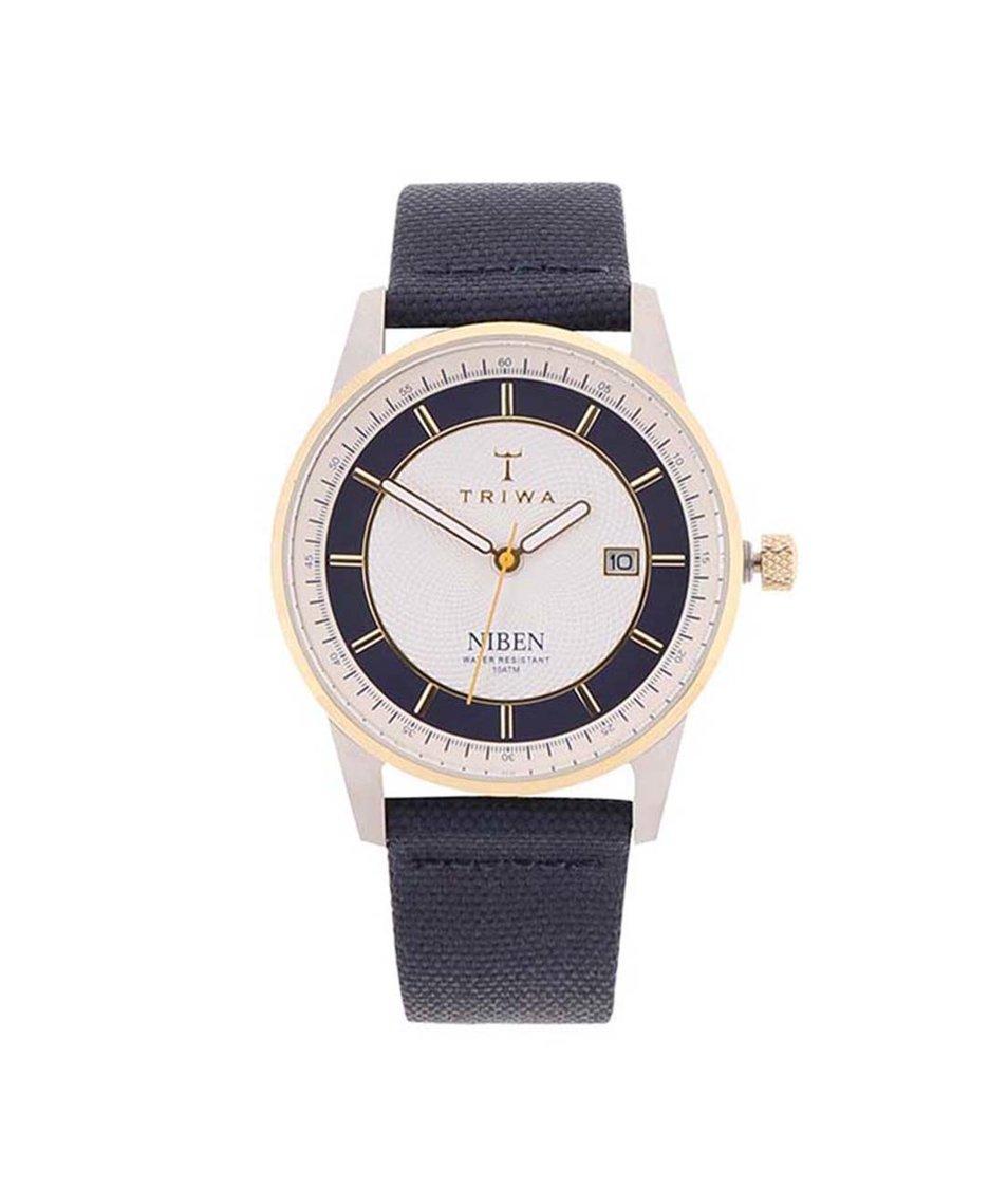 Tmavě modré kožené unisex hodinky TRIWA Niben