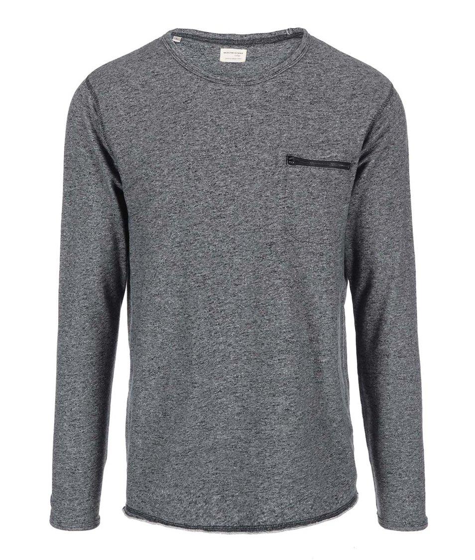 Tmavě šedá mikina s kapsou na zip Selected Wear