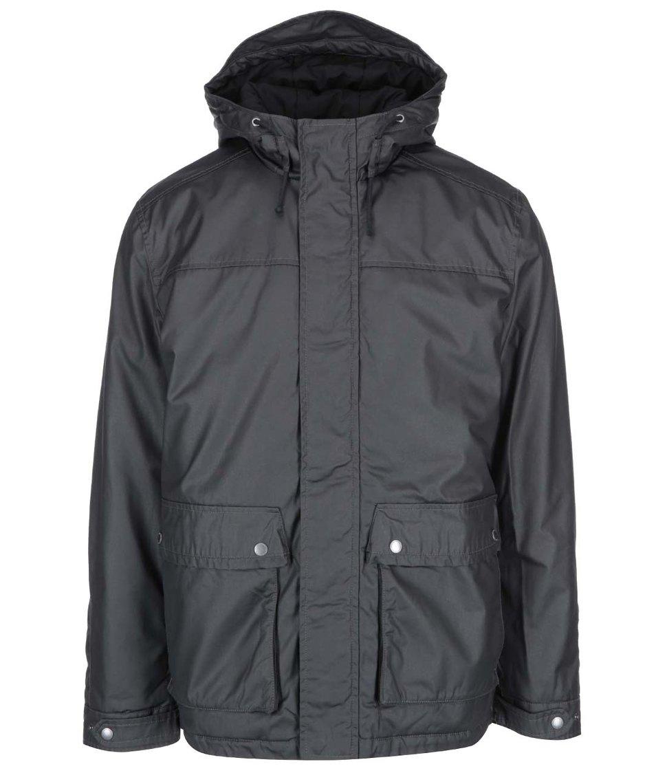 Černá lesklá bunda s kapucí Selected Gian