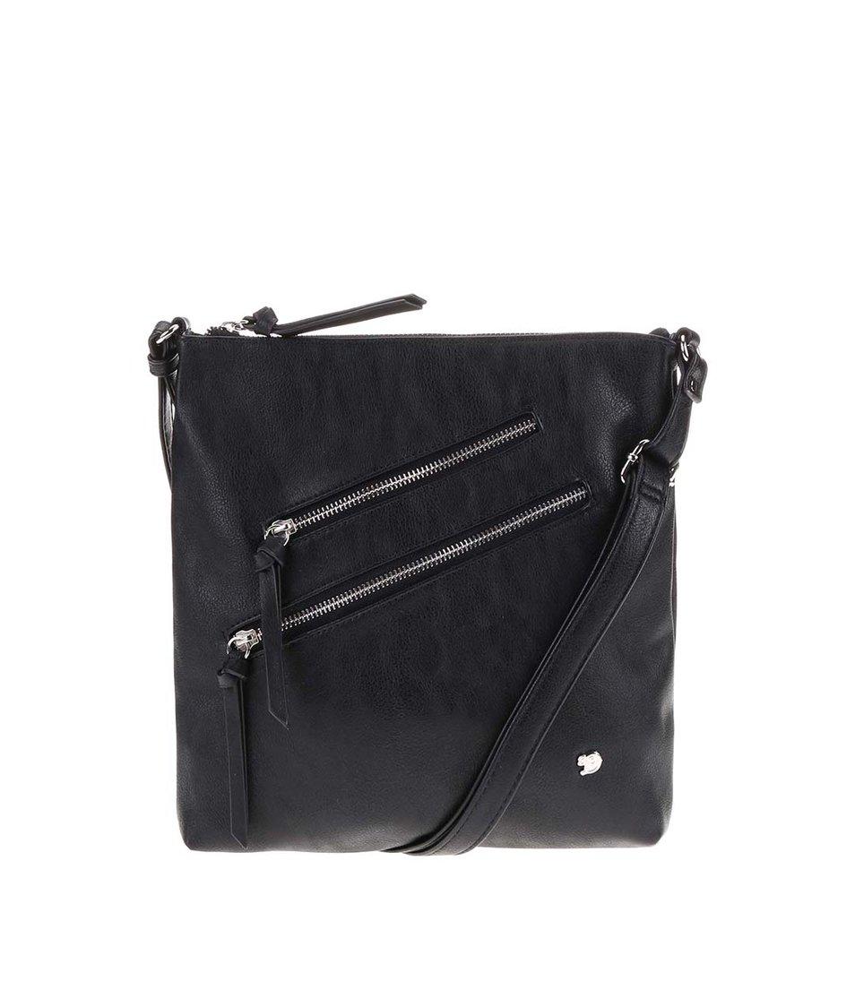 Černá menší kabelka s ozdobnými zipy Tom Tailor