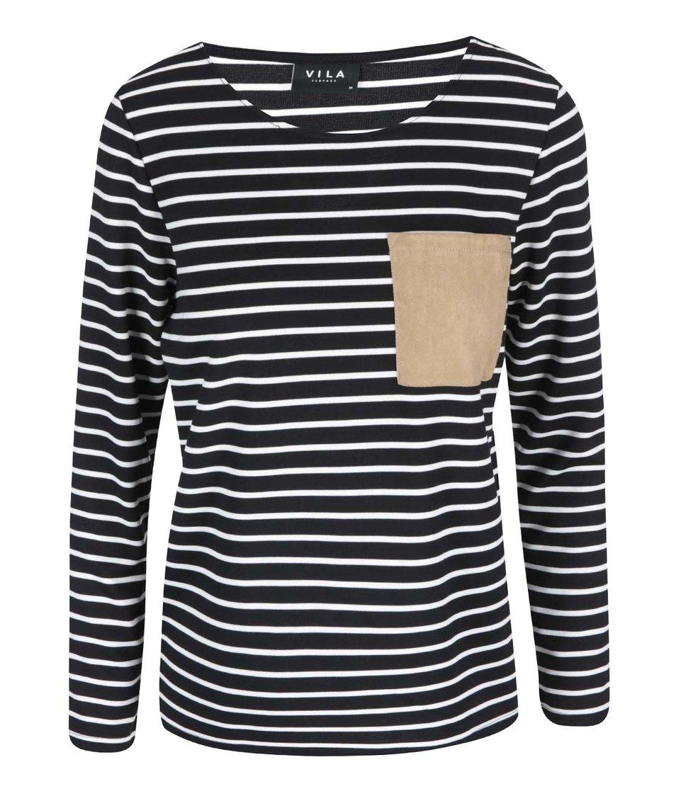 Černo-bílé pruhované tričko VILA Recalls