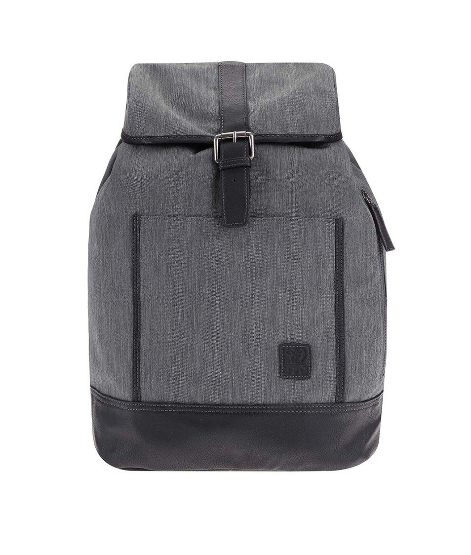 Šedý žíhaný batoh s koženkovými detaily Tom Tailor
