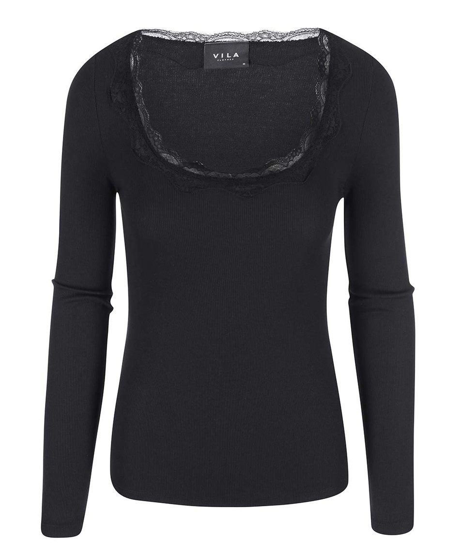 Černé tričko s krajkovým detailem VILA Falls