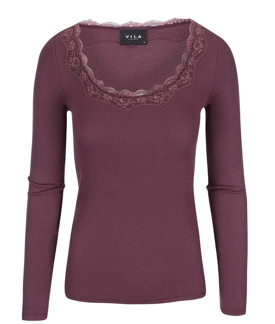 Vínové tričko s krajkovým detailem VILA Falls